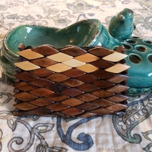 Wooden coin purse clutch